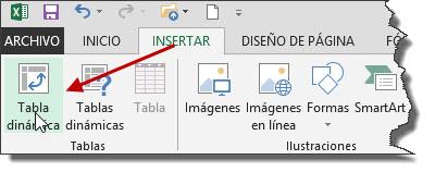 Insertar tabla dinámica Excel