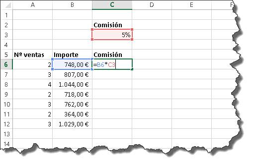 referencias en fórmulas Excel