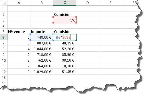 usar referencias fórmulas Excel