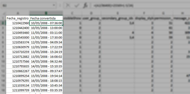 Timestamp en Excel