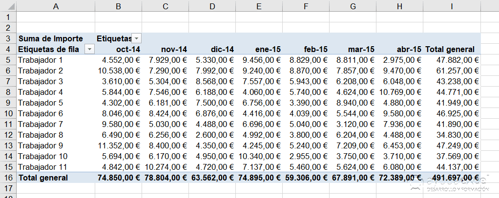 Tabla dinámica Excel