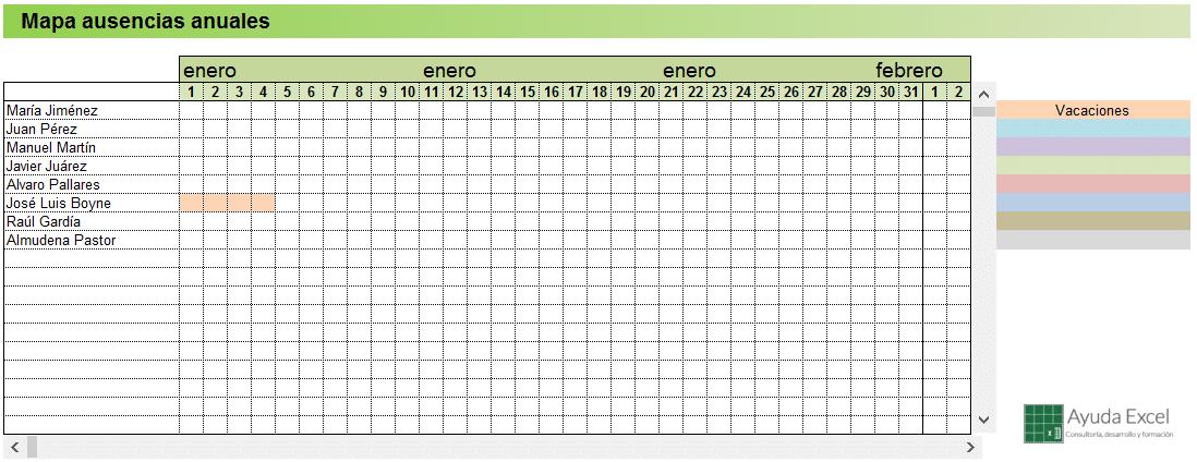 Plantilla de control de vacaciones 2016 - Ayuda Excel
