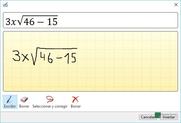 Ecuaciones a mano Excel 2016