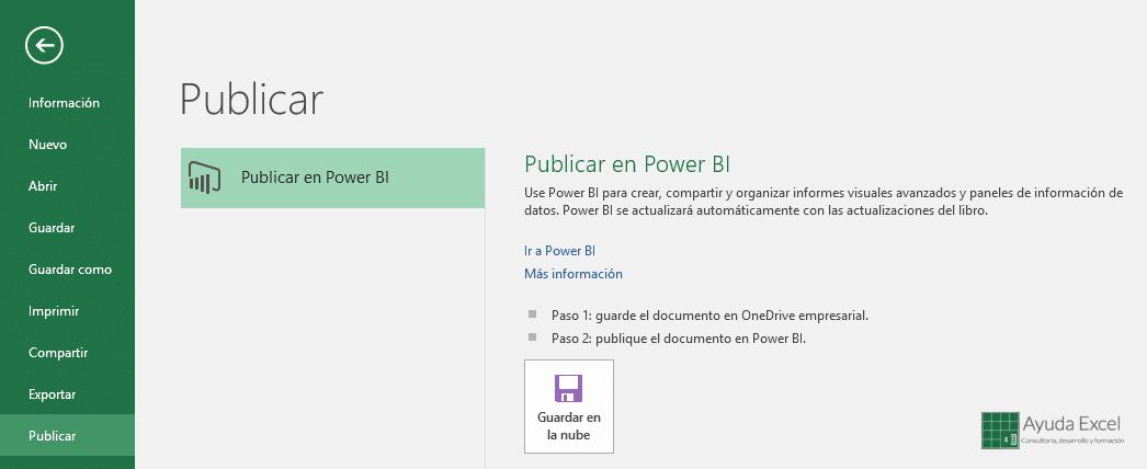 Publicar PowerBI Excel 2016