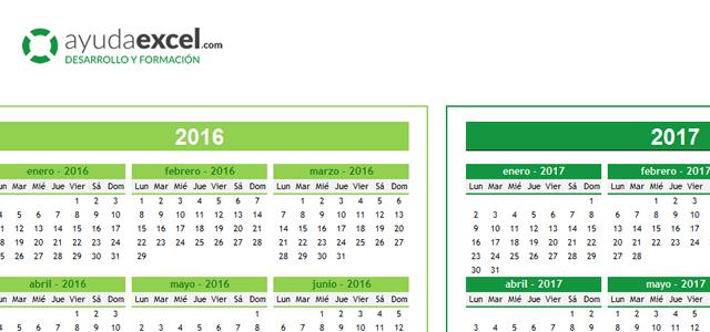 Calendario 4 años excel
