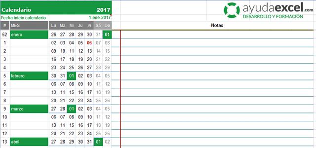calendario compacto excel