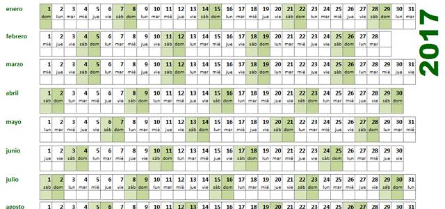 calendario excel lineal horizontal