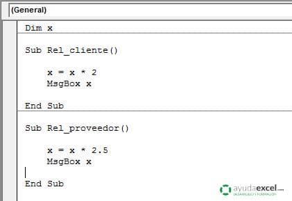ambito de una variable de modulo excel vba