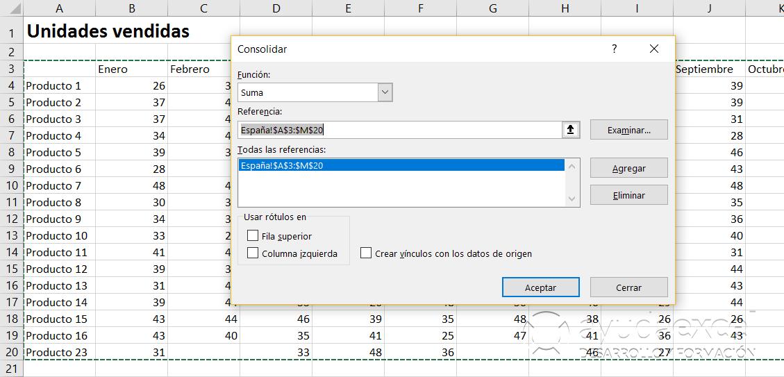seleccionar rangos consolidar datos en excel