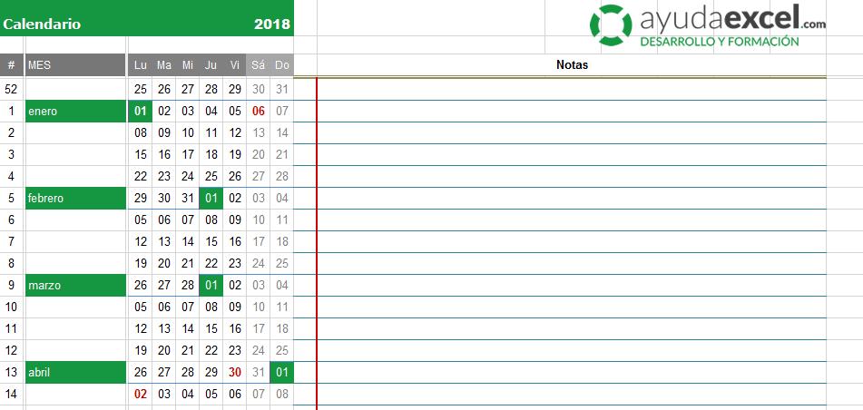 calendario excel plantilla 2018