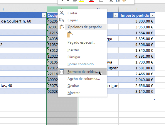 menu columna tabla clientes excel