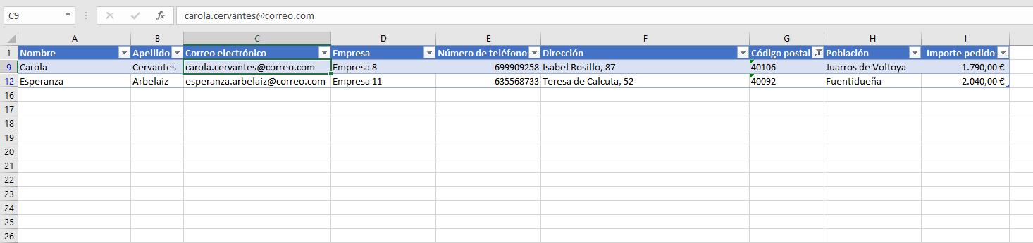 datos filtro lista clientes excel