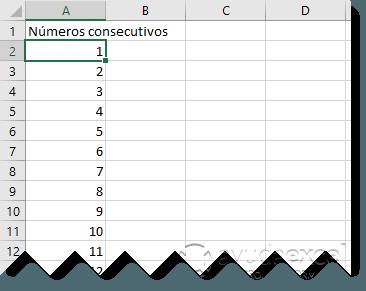 numeros consecutivos excel rellenar series
