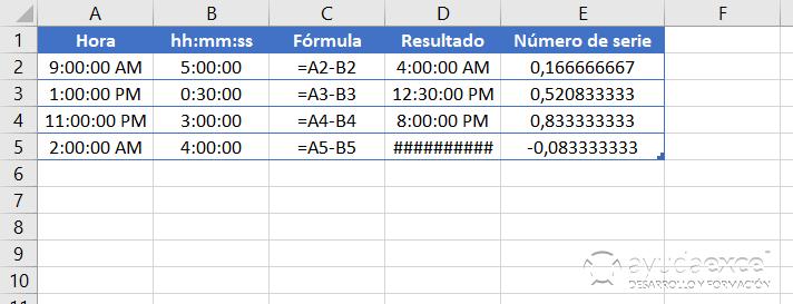 fechas y horas en excel restar