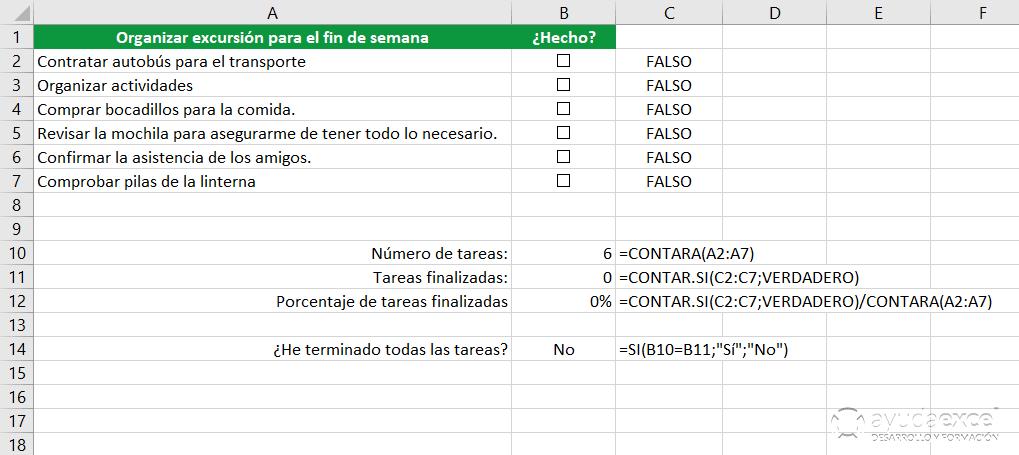 formulas checklist excel