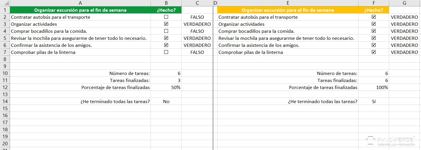 comparar lista tareas excel