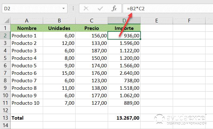 formulas matriciales importe excel