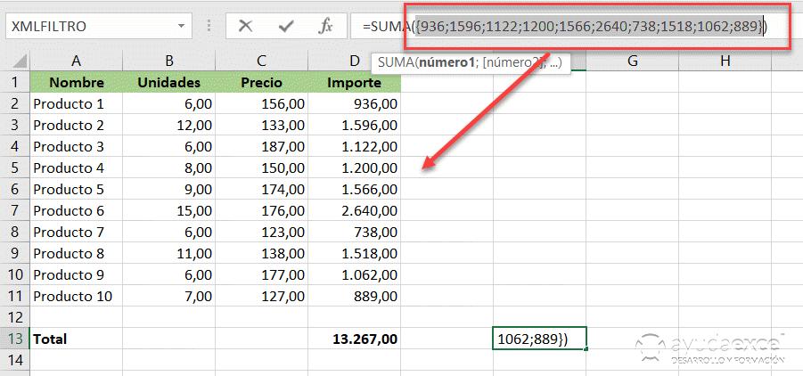 cálculo fórmula matricial excel