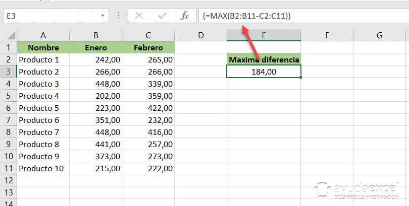cálculos con fórmulas matriciales excel
