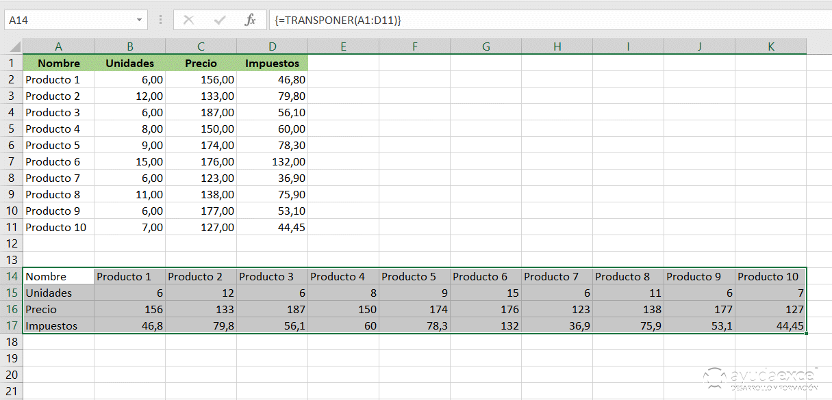 transponer fórmula matricial excel