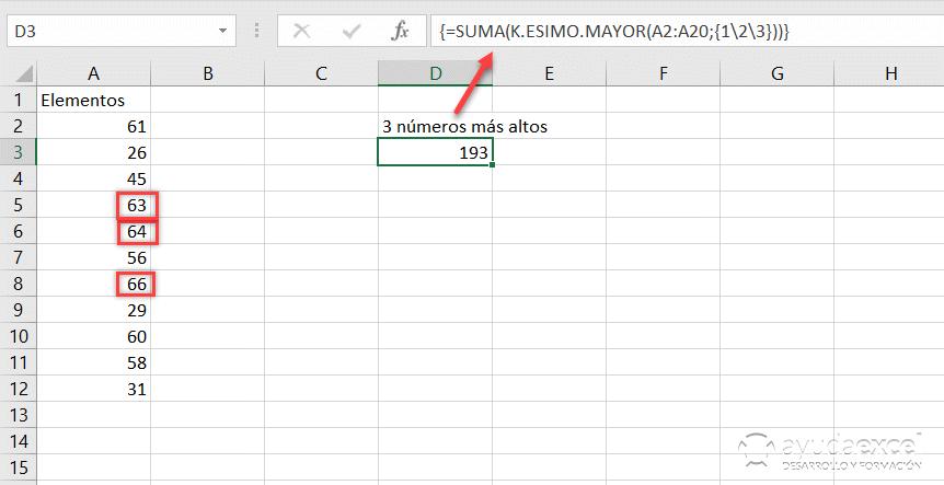 k.esimo.mayor formula matricial excel