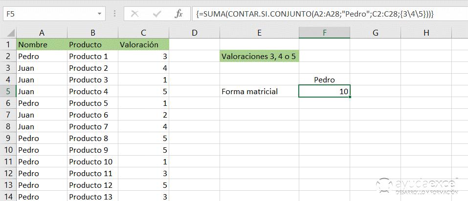 matriciales excel formulas