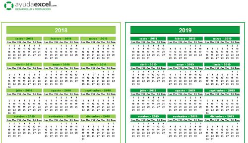 Calendario Excel 4 años