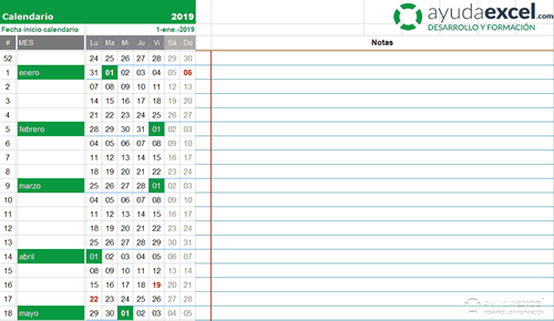 Calendario Excel compacto