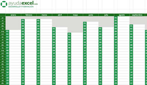 Calendario Excel vertical