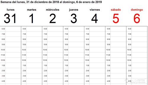 Calendario Excel semanal