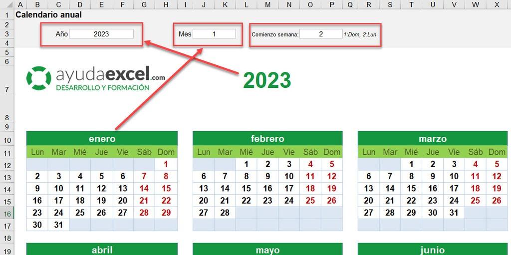 calendario dinámico Excel