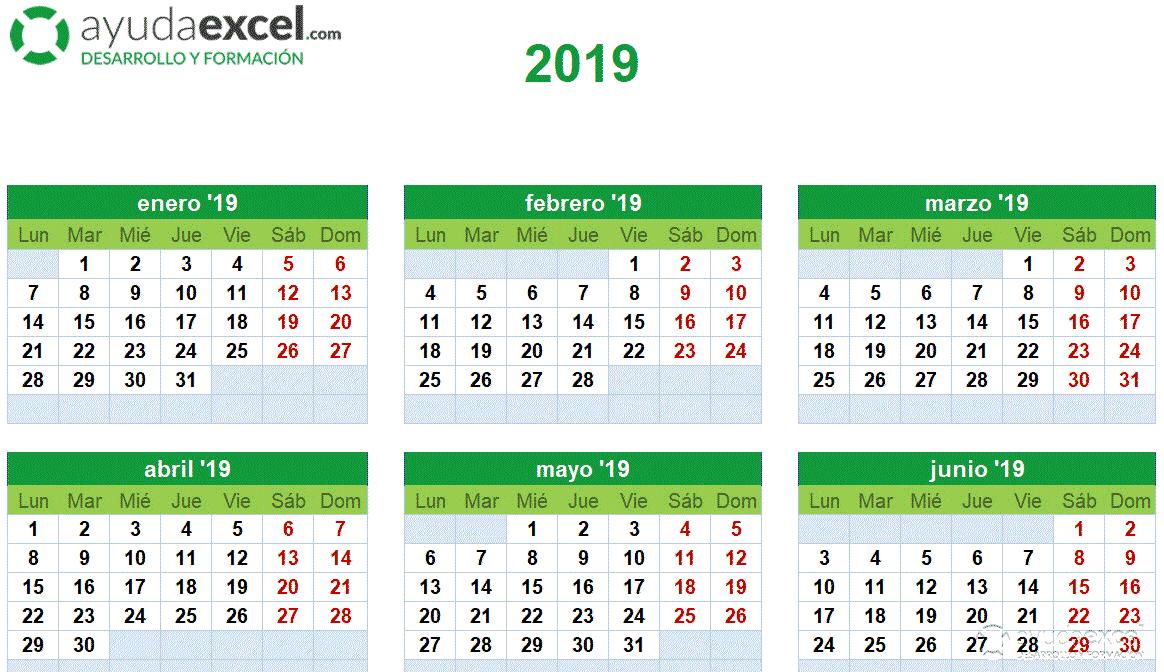 Plantilla calendario Excel 2019