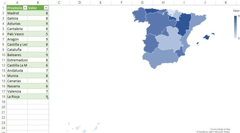 Gráfico mapa Excel
