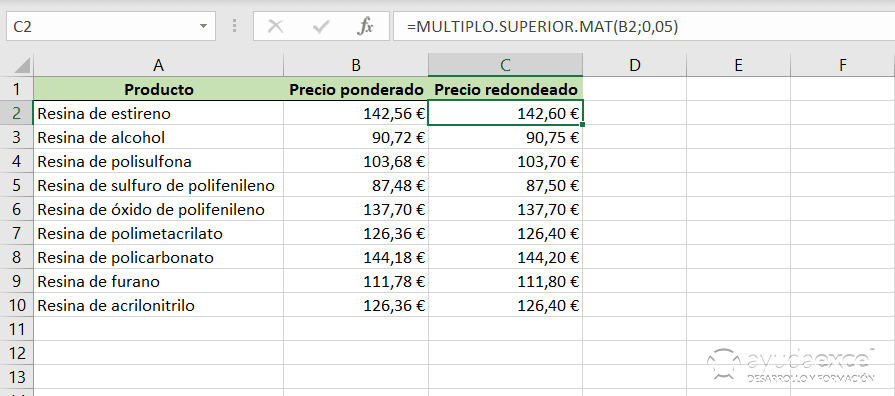 redondear multiplo excel