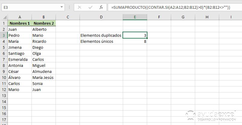 contar elementos duplicados excel sumaproducto