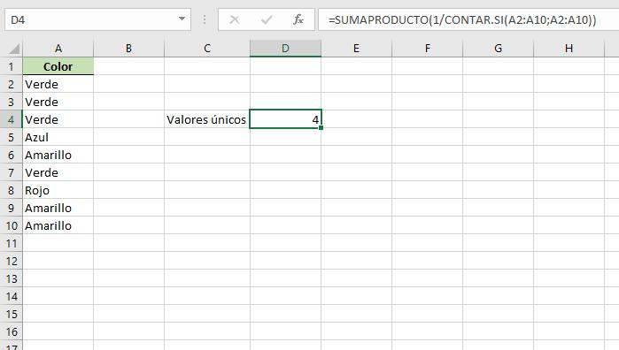 contar valores unicos sumaproducto excel