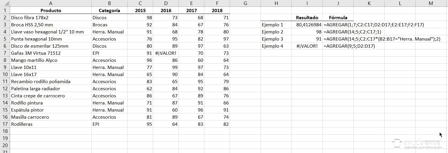 ejemplo funcion agregar Excel
