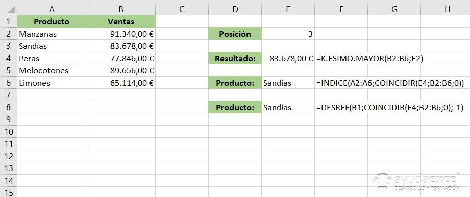 Buscar con INDICE y COINCIDIR Excel