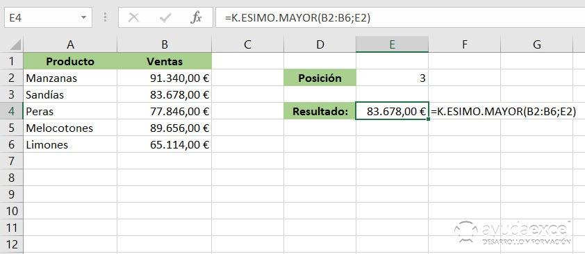 Excel k.esimo.mayor función