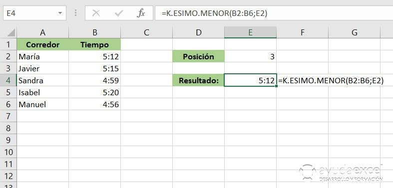 Excel K.ESIMO.MENOR función