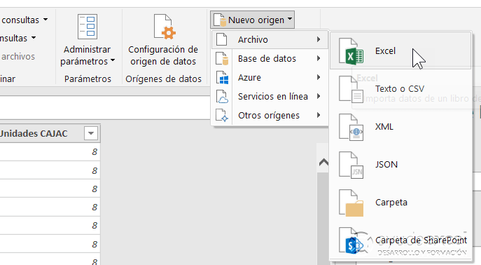 Nuevo origen datos Power Query Excel