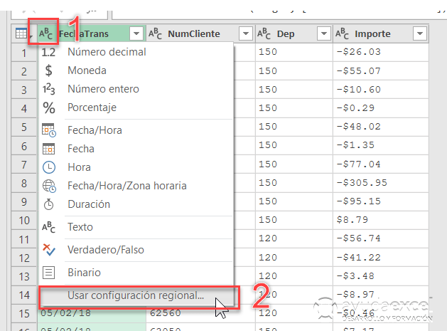 configuración regional power query excel