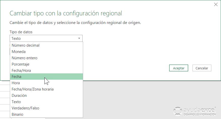 cambiar tipo de configuración regional power query excel
