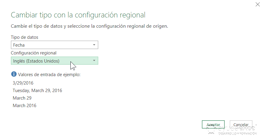 Idioma configuración regional Power Query Excel