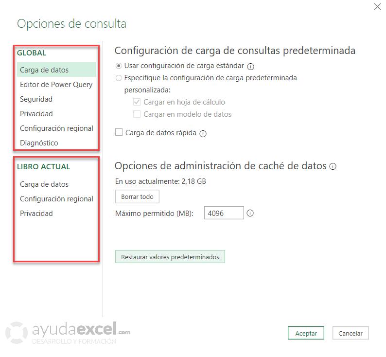 Configuración de Power Query - Opciones de consulta