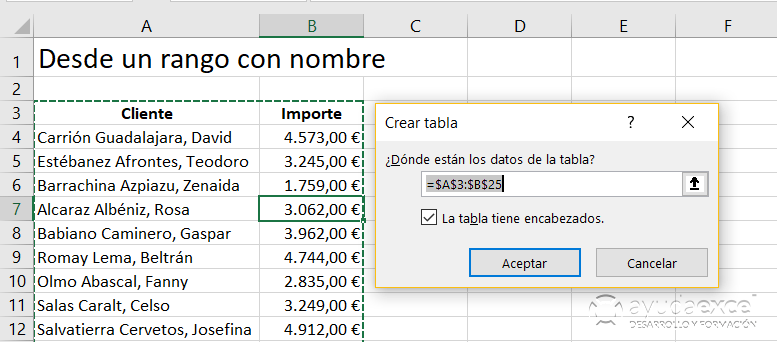 Importar desde un rango Power Query Excel
