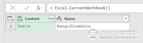 Desde un rango dinámico importar Power Query Excel
