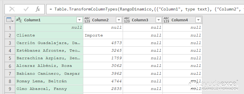 Rango dinámico power query excel