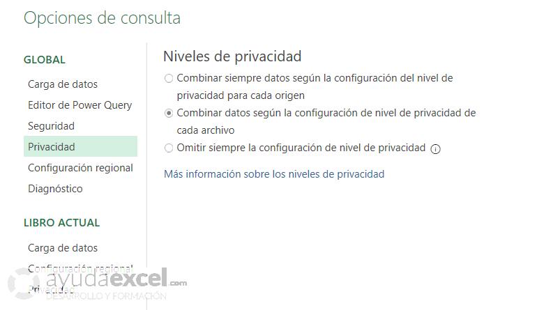 Niveles de privacidad Power Query