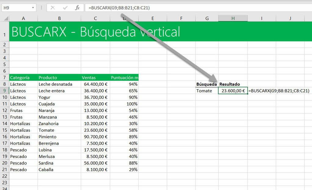 funciónBUSCARX búsqueda vertical